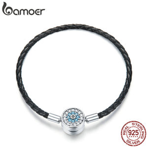 Image 1 - BAMOER Authentic 925 Sterling Silver Blue Eyes Leather Bracelets for Women Bracelets Bangles Sterling Silver Jewelry SCB113