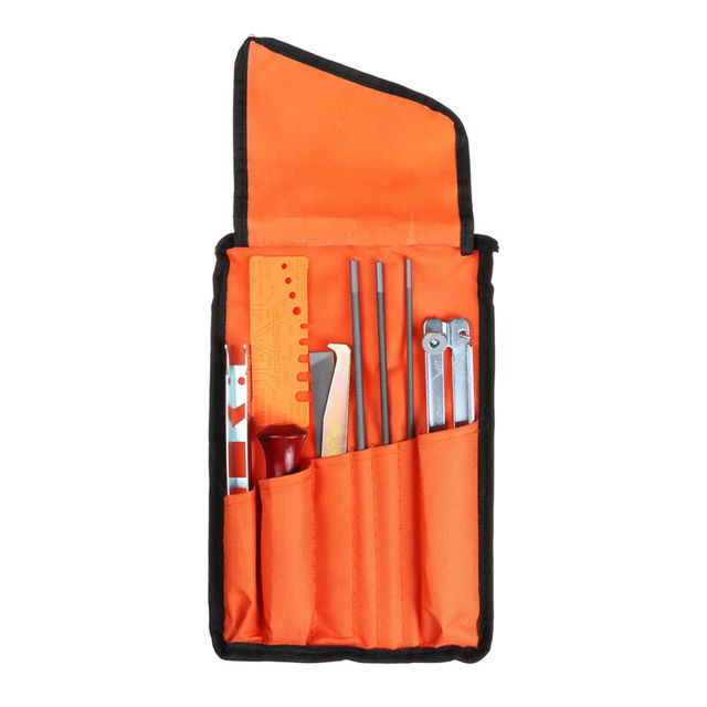 Sharpening Kit 10pcs For Stihl Husqvarna Chainsaw Portable Metal Hardwood Storage Bag Strip Groove Cleaner Rapid Checker