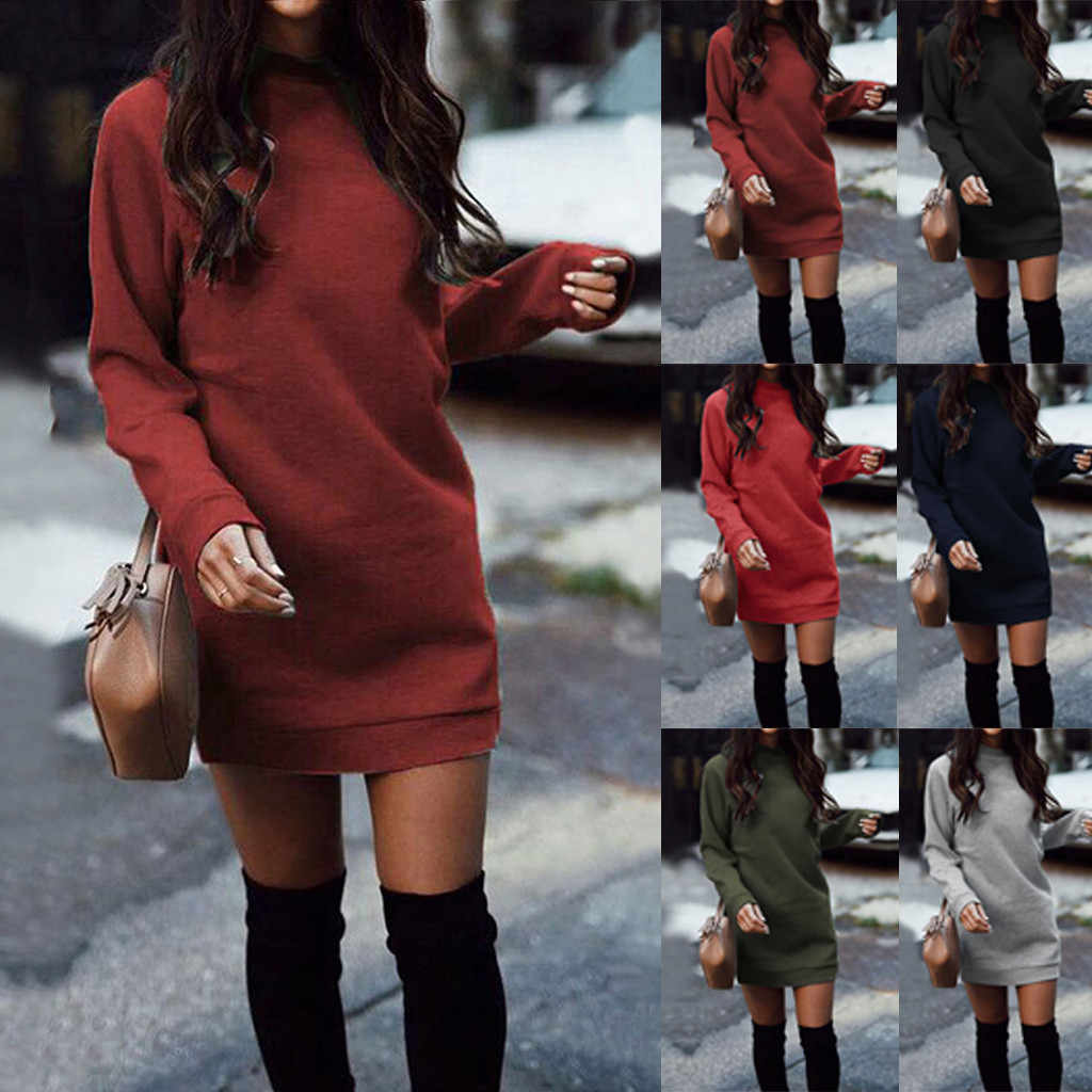 2019 Winter Sale Vrouwen Winter Gebreide Baggy Trui Jumper Mini Jurk Winter Lange Trui Top Dropshipping gratis verzending Leisur