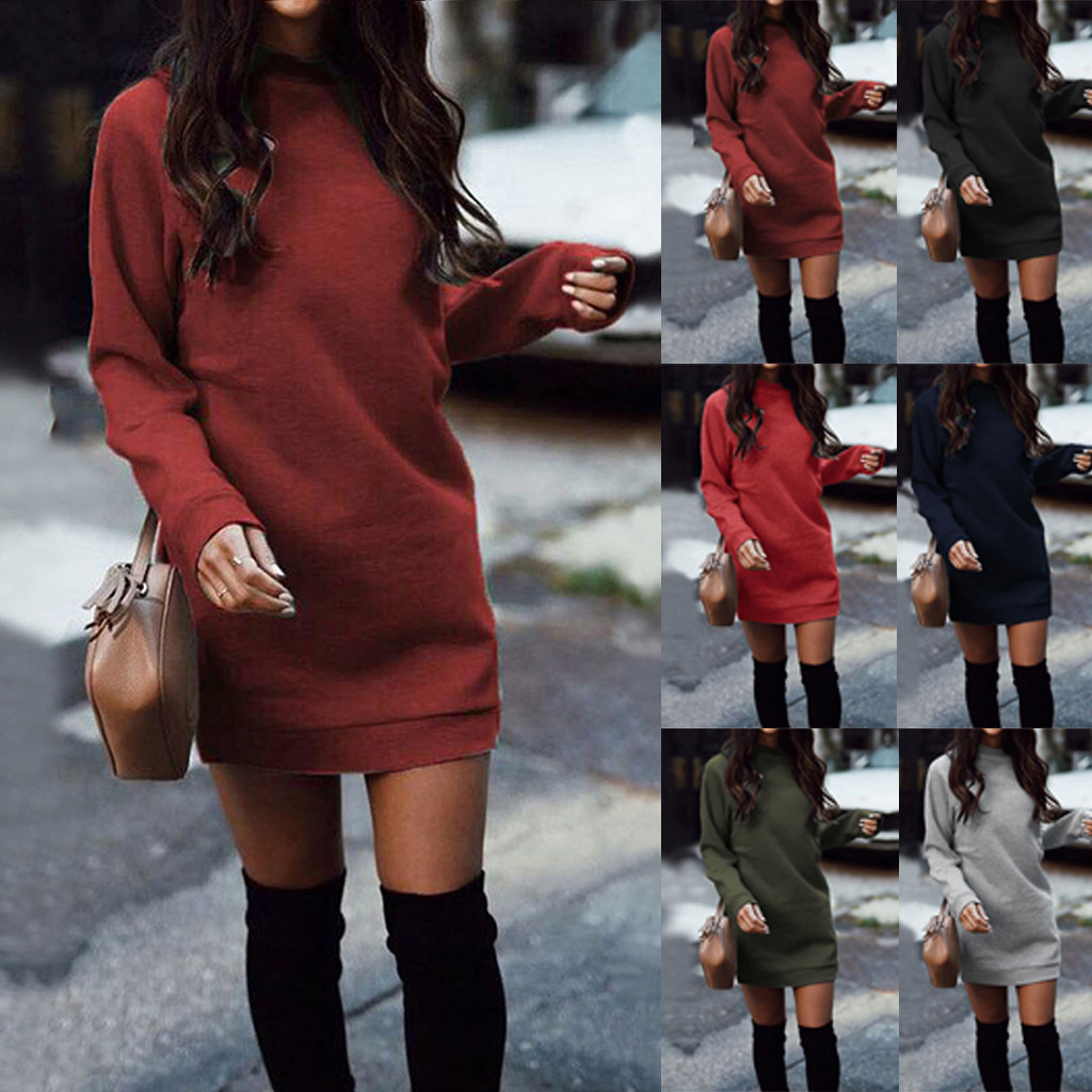 Women Winter Knitted Baggy Sweater Jumper Mini Dress Winter Long Pullover Top Sexy Party Dress Vestidos Femalecasual Dress 2020