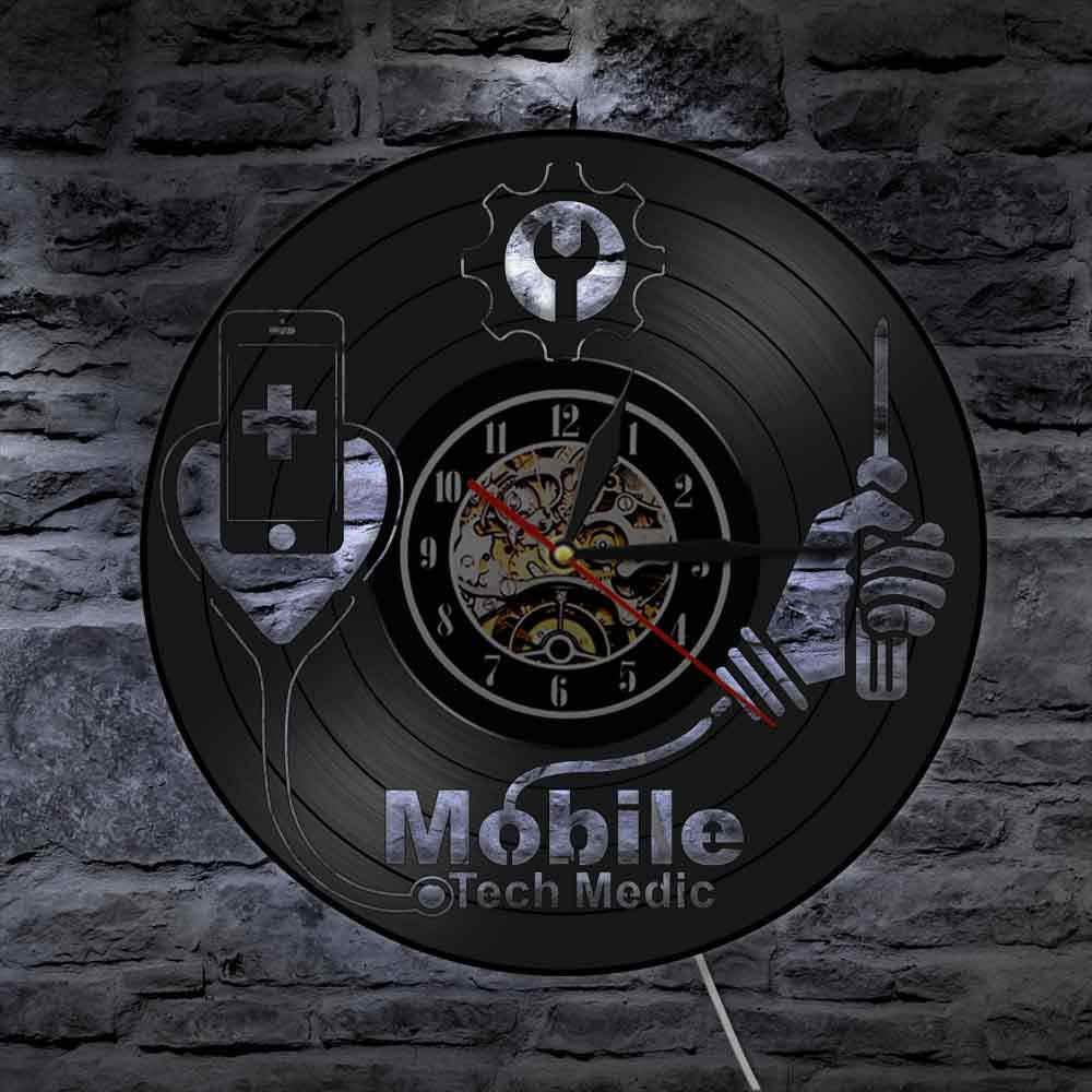 الأجهزة الذكية إصلاح خدمة الإصلاح أدوات الهاتف المحمول إصلاح متجر شعار جدار الفن ساعة حائط المحمول التكنولوجيا الطبيب ليلة ضوء ساعة