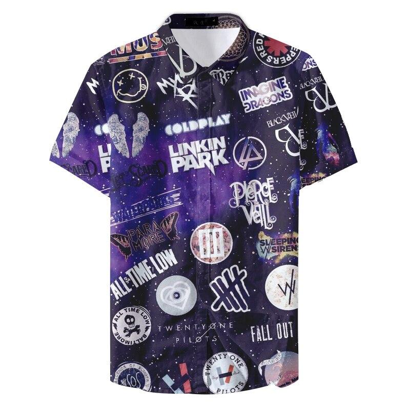 2019 New Collar Hawaiian Hiphop Tourism Letter Printed Man Casual Shirt