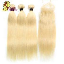 Блонд Facebeauty 1B 613 с Омбре, Плетеный Уток, 8 - 28 дюймов, Remy, бразильские прямые человеческие волосы 2/3/4 пряди с кружевной застежкой 5x5