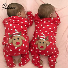 Рождественский детский комбинезон с вышивкой в виде лося, одежда для маленьких девочек и мальчиков, боди с длинными рукавами, комбинезоны для новорожденных, Рождественская цельнокроеная одежда на возраст 0-18 месяцев