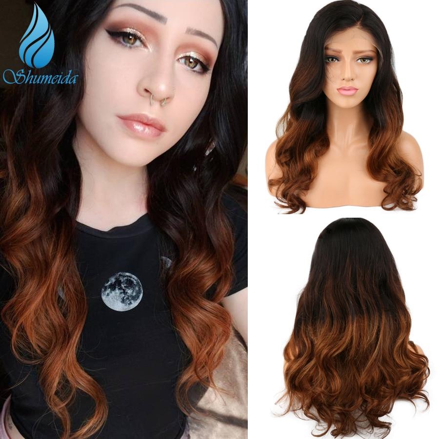 SHD три эффектом деграде (переход от темного к Цвет парики из натуральных волос для Для женщин бразильские волосы длинной волны Волосы remy 13x6 С...