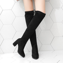 Thigh High Boots Female Winter Boots Women Over The Knee Boots Flat Stretch Sexy Fashion Shoes Black Boots stretch autumn winter over the knee boots women black shell head thick bottom flat platform shoes thigh high boots long boots