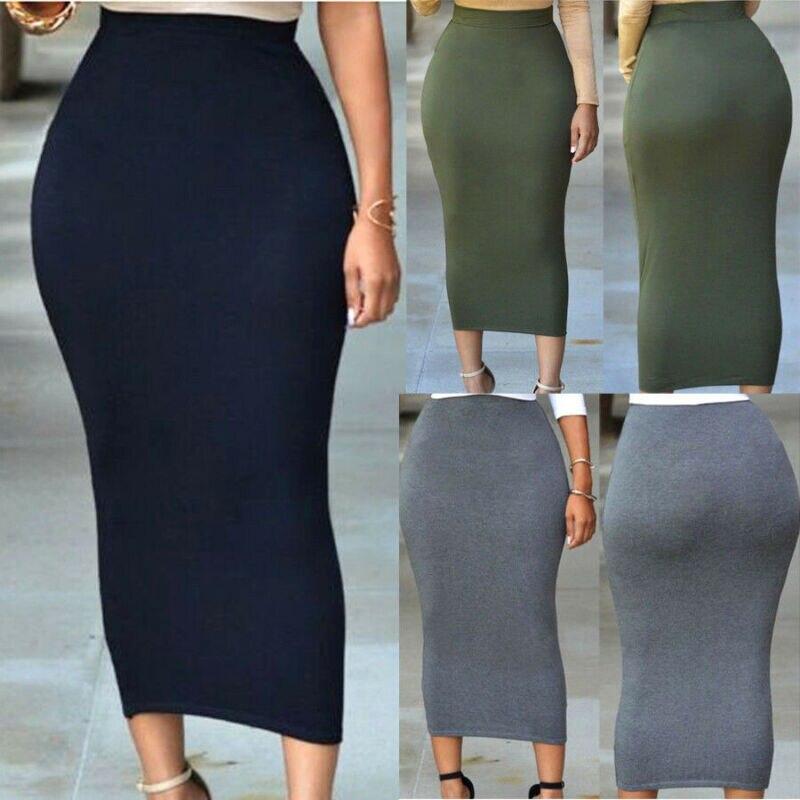 Women Jersey Stretchy Ladies Elasticated Pencil Plain Office Bodycon Midi Skirt