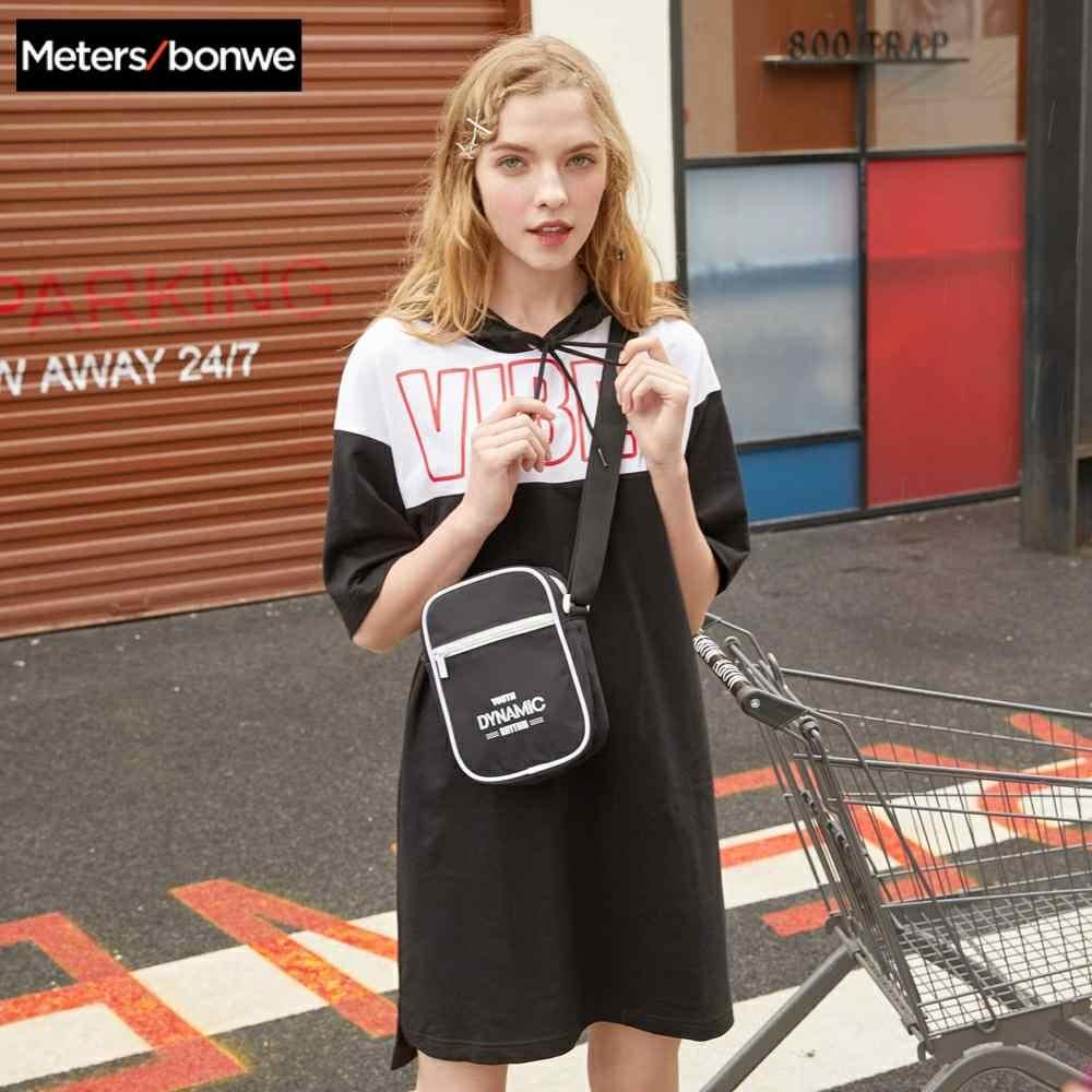 Metersbonwe נשים של חולצה שמלות 100% כותנה אופנה Streetwear להיט צבע הדפסת טלאי שמלות עבור בנות אופנה