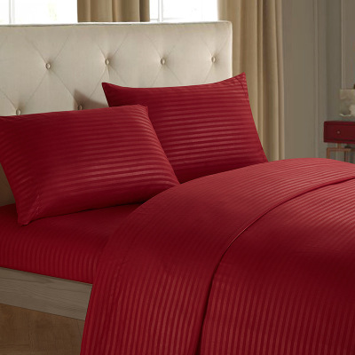 Luxury Bedding Set Solid Red Wedding Bed Kit Flat Sheet Fitted Sheet Pillowcase Fill King Queen Twin Size Home Textiles