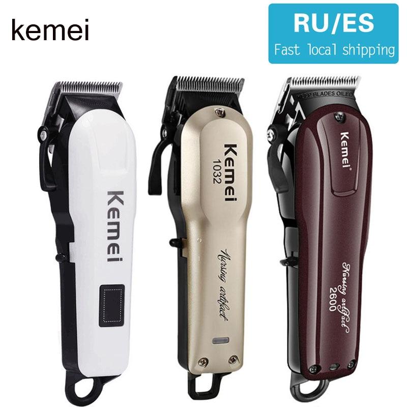 Kemei Professional Hair Clipper Electric Hair Clipper Men's Hair Trimmer Men's Wireless Haircut Adjustable Ceramic Blade 5