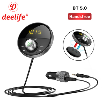 Deelife Bluetooth AUX Adapter in Car Handsfree Kit BT 5.0 Audio Receiver for Auto Phone Hands Free Carkit FM Transmitter