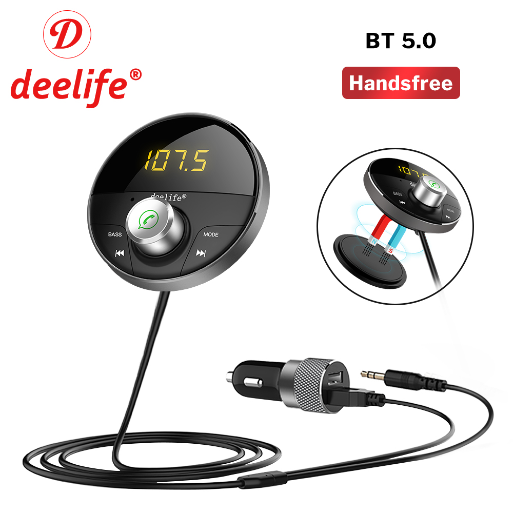 Deelife Bluetooth Car Kit Handsfree AUX Adapter Audio Receiver MP3 Player 5.0 for phone Auto Hands Free Wireless FM Transmitter