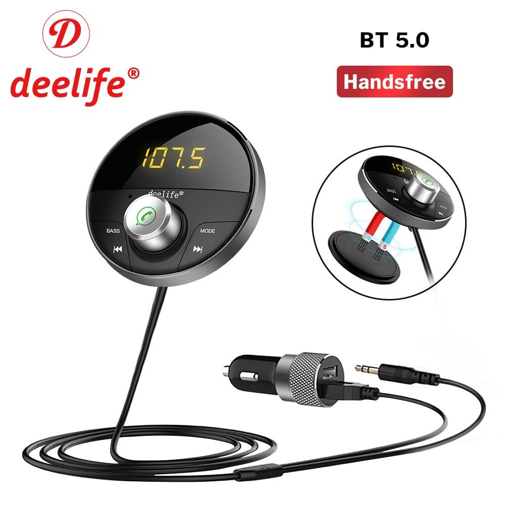 Deelife kit carro bluetooth handsfree aux adaptador receptor de áudio mp3 player 5.0 para o telefone auto mãos livres transmissor fm sem fio