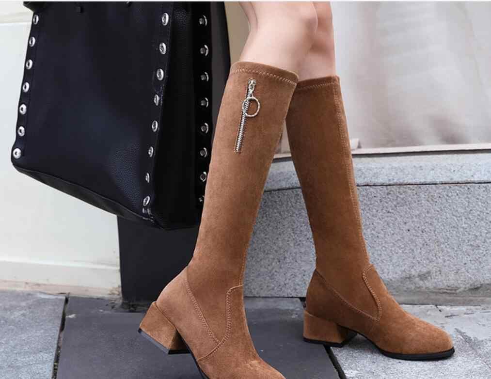 YENI Kadın Botları Lace Up Seksi Yüksek Topuklu Kadın Ayakkabı Dantel Up Kış Diz Yüksek Çizmeler Sıcak Boyutu 35 -43 2019 Moda Çizmeler