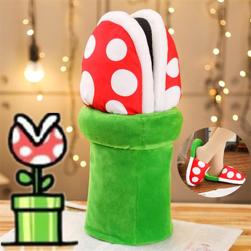 Game Anime Super Mario Shoes Cartoon Cute Cosplay Costumes Props Corpse Flower Slipper Home Cotton Shoes Christmas Funny Gift