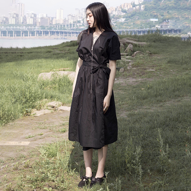 New Fashion Style Black Pleated Bandage Split Temperament Dress Fashion Nova Clothing