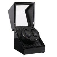 시계 스토리지 더블 시계 와인 더 나무 옻칠 피아노 광택 블랙 탄소 섬유 조용한 모터 스토리지 디스플레이 시계 상자