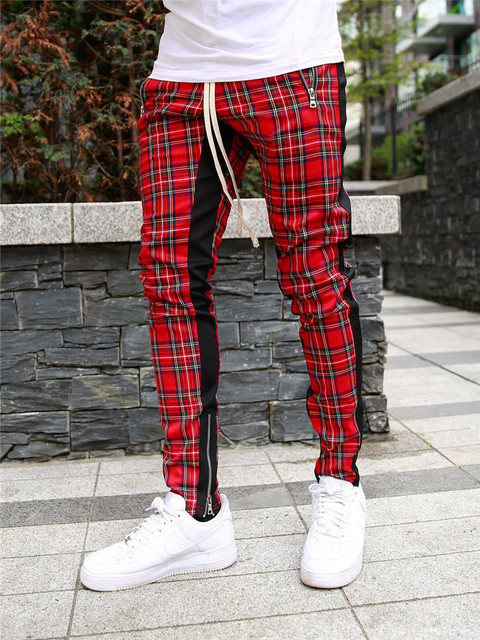 High quality men's  Korean version checked fashion patchwork color matching small legs trouser slim casual sports pencil pants 2
