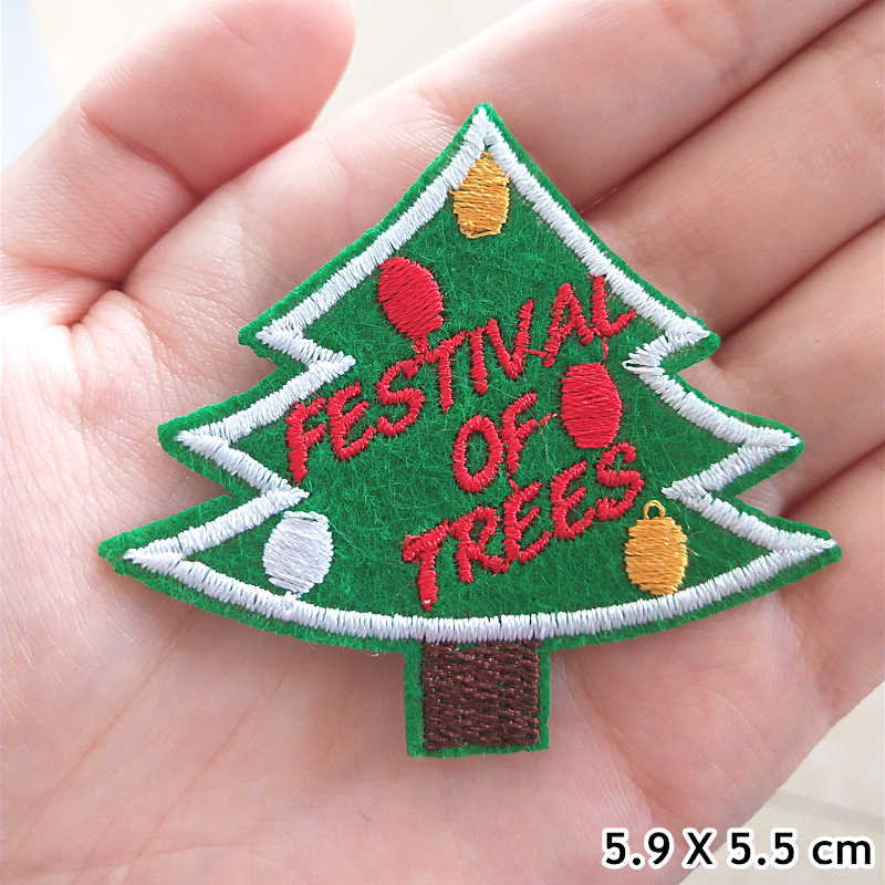 Albero Di Natale di modo di Patch cappello Pupazzo di Neve Ricamo Toppe e Stemmi Per Abbigliamento Carino palloncino Ferro Su Toppe e Stemmi Sui Vestiti della frutta Sticker