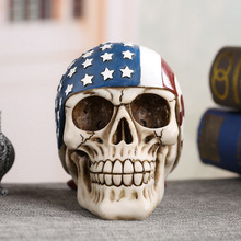 Resin Skull Halloween Gift Personality Home Decoration Furniture Ornaments  Craft Design Figurines American Flag Fashion 14x12cm