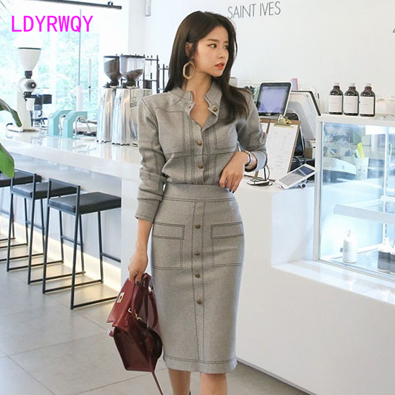 Image 2 - 2019 autumn and winter new temperament thin color matching knit top + bag hip bottom skirt suit women-in Women's Sets from Women's Clothing