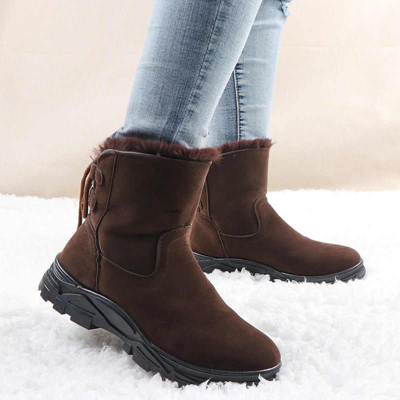 Kışlık botlar kadın sıcak süet bileğe kadar bot Lace up platformu kar botları rahat Botas Mujer peluş kış ayakkabı zapatos de mujer