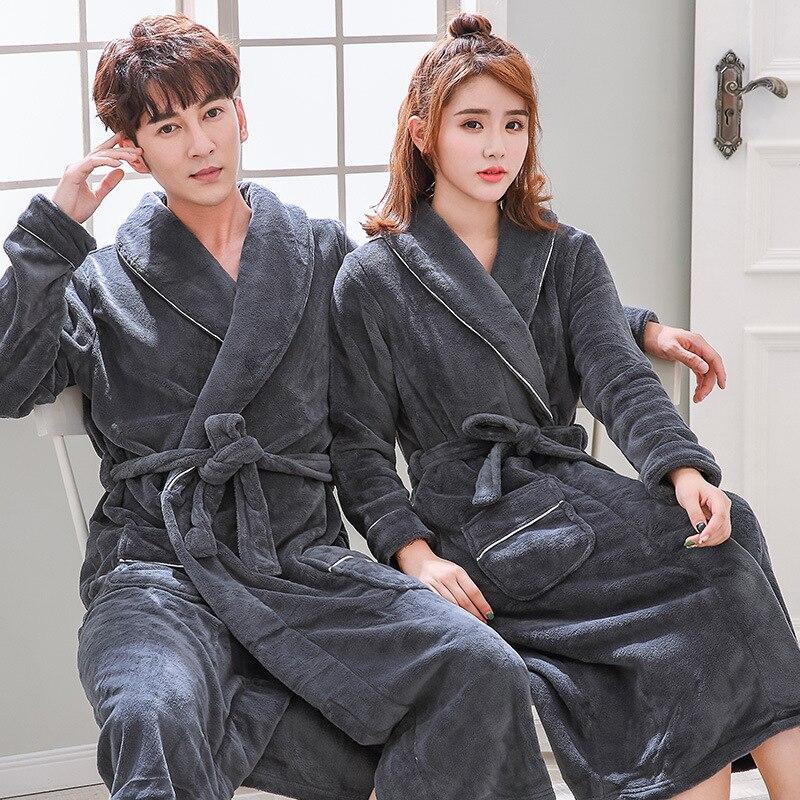 Flannel Bridesmaid Robes Kimono Sleepwear Underwear Women Warm Winter Women Clothing Nightwear Bathrobe Couple Pajamas Pink