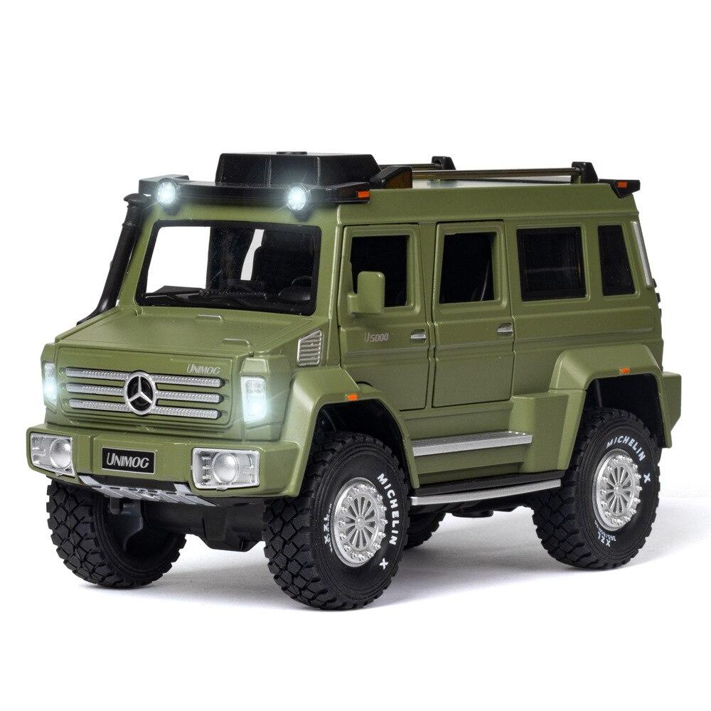 Novo 1:28 unimog u5000 liga carro diecast modelo multifuncional fora de estrada veículo carro simulação carros de brinquedo para meninos presentes ct0034