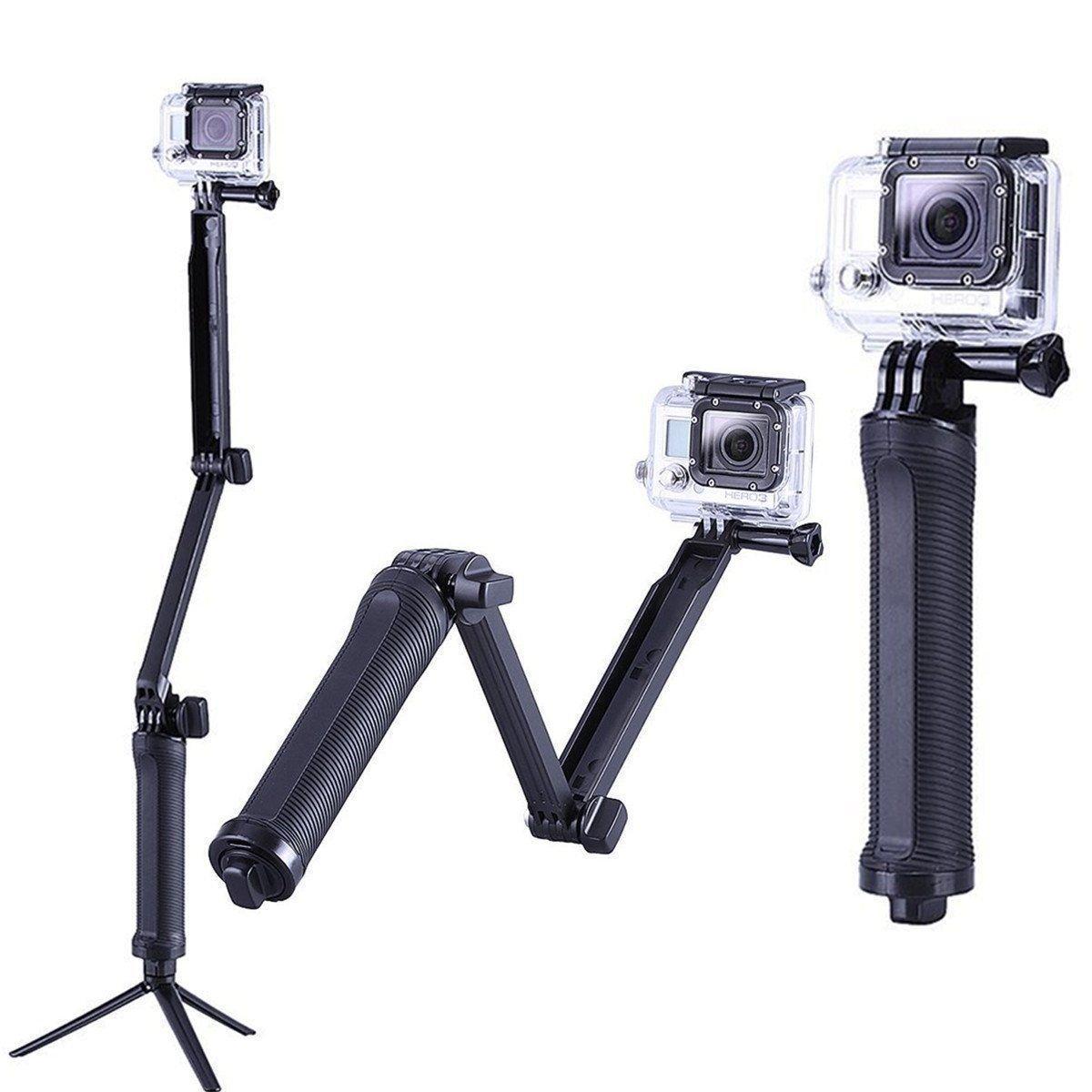 3 Way Grip Waterproof Monopod Selfie Stick For Gopro Hero 5 6 4 Black Session SJ4000 For Xiaomi Yi 4K Sports Camera Tripod Stand