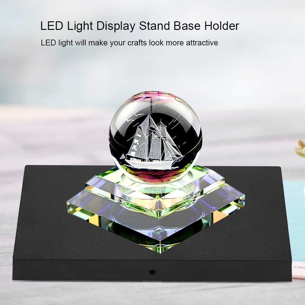 12 LEDs Luminous Black LED Light Base Lamp Holder White Light Display Stand Base Holder For Crystal / Glass Art Lamp Socket