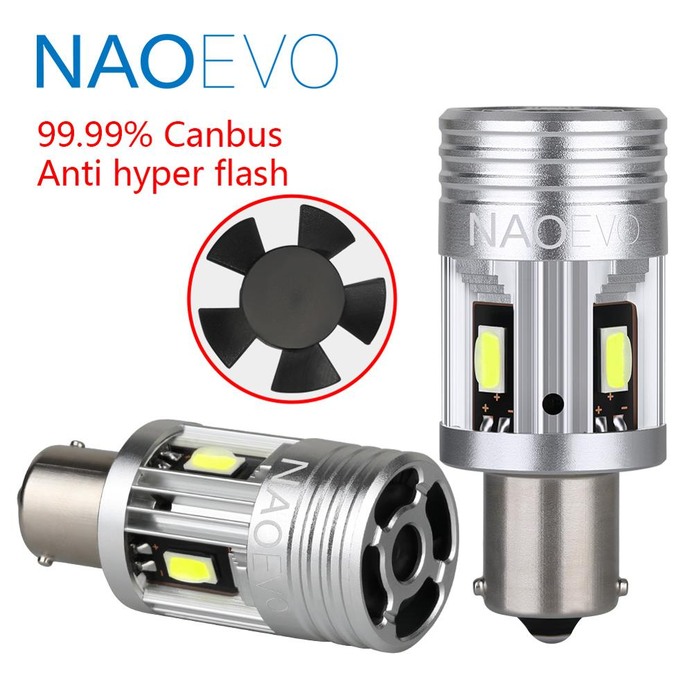 NAOEVO <font><b>P21W</b></font> LED <font><b>Canbus</b></font> <font><b>1156</b></font> PY21W No Error BA15S 26W 3000Lm 12V BAU15S For BMW E60 Turn Signal Light Blub No hyper flash Amber image