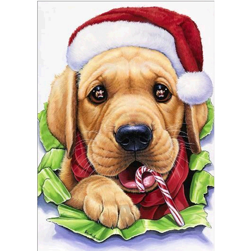 Diamond Embroidered Christmas Dog DIY Animal Painting Full Round Gift