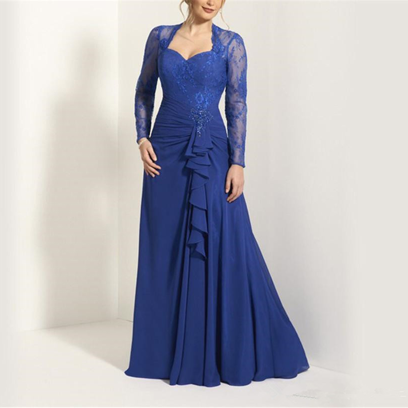 Long Sleeves Blue Chiffon Lace Mother Of The Bride Dresses 2020 Keyhole Back Sheath Ruffles Beading Maid Robe De Soiree