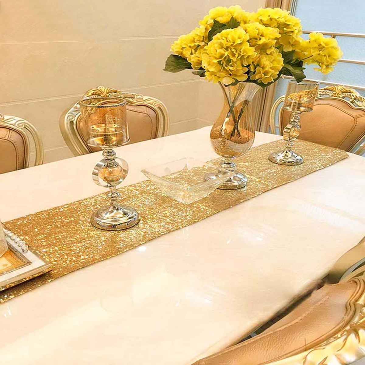 30X180cm Sequin Table Runner Shiny Gold Silver Colour Luxury Style Embroider Sequin Table Runner For Wedding Hotel Dinner Party