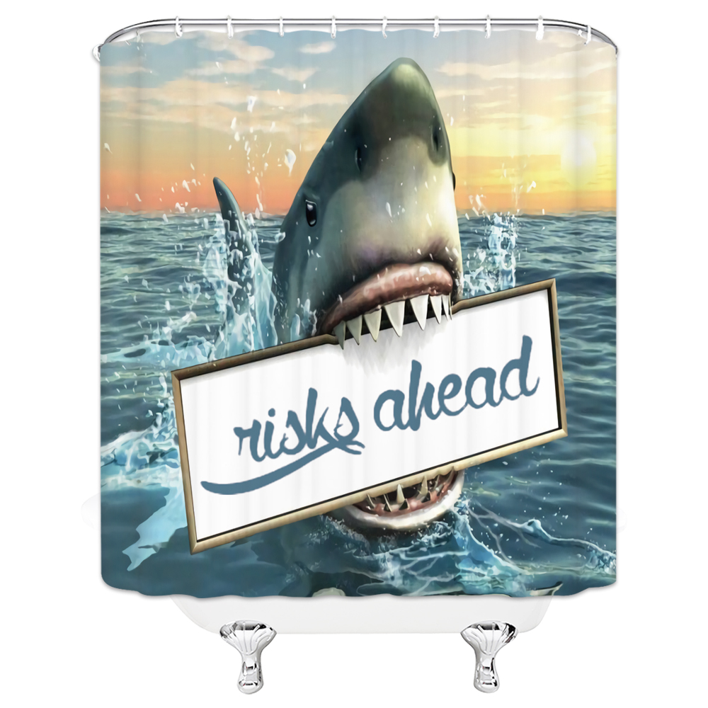 Bathroom Shower Curtains Waterproof Bath Curtain Animals Shark Movie Print 3d Polyester Fabric Screen cortinas de bano image
