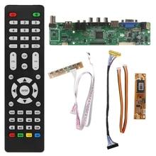 V53 Universele Lcd Tv Controller Driver Board Pc/Vga/Hdmi/Usb Interface + 7 Key Board + lvds Kabel Kit
