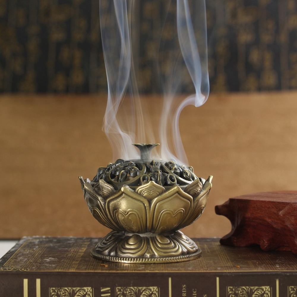 Chinese Buddha Alloy Incense Burner Lotus Flower Incense Holder Handmade Censer For Buddhist Home Office Decoration