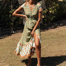 DICLOUD Elegant Boho Long Dress Women Summer Short Sleeve Floral Print Button Up Bohemian Maxi Dresses Ladies Clothing 2020(China)