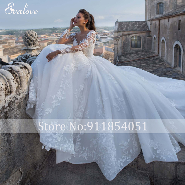 EVALOVE Luxury Scoop Neck Lace Up Beading A-Line Wedding Dress Gorgeous Long Sleeve Appliques Sparkly Tulle Vintage Bridal Gown 4