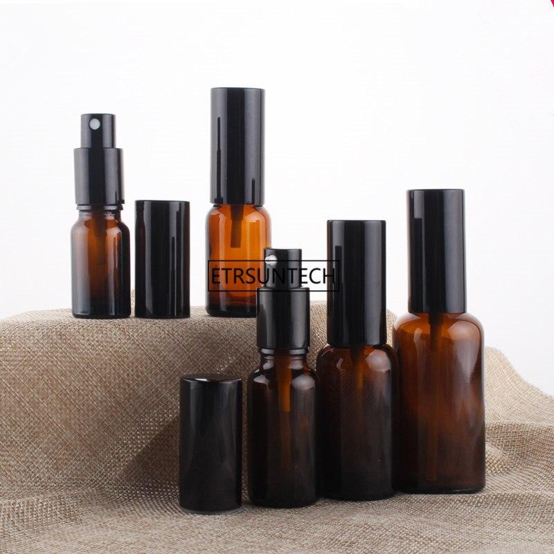100 Uds 10ml 15ml 20ml 30ml 50ml botella de Spray de vidrio ámbar botellas de bomba de loción envase cosmético paquete rellenable vacío F3727 Botella vacía con pulverizador de 50Ml, botella pulverizador de desinfección, se puede llenar con Perfume, desinfectante, Etc. Adecuado para viajes, limpieza, Disi