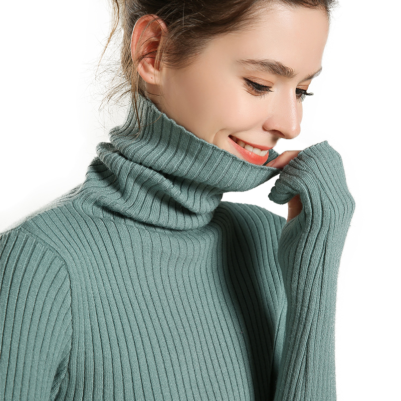 adishree 2019 woman winter 100% Cashmere sweaters and auntmun knitted Pullovers High Quality Warm Female thickening Turtleneck thumbnail