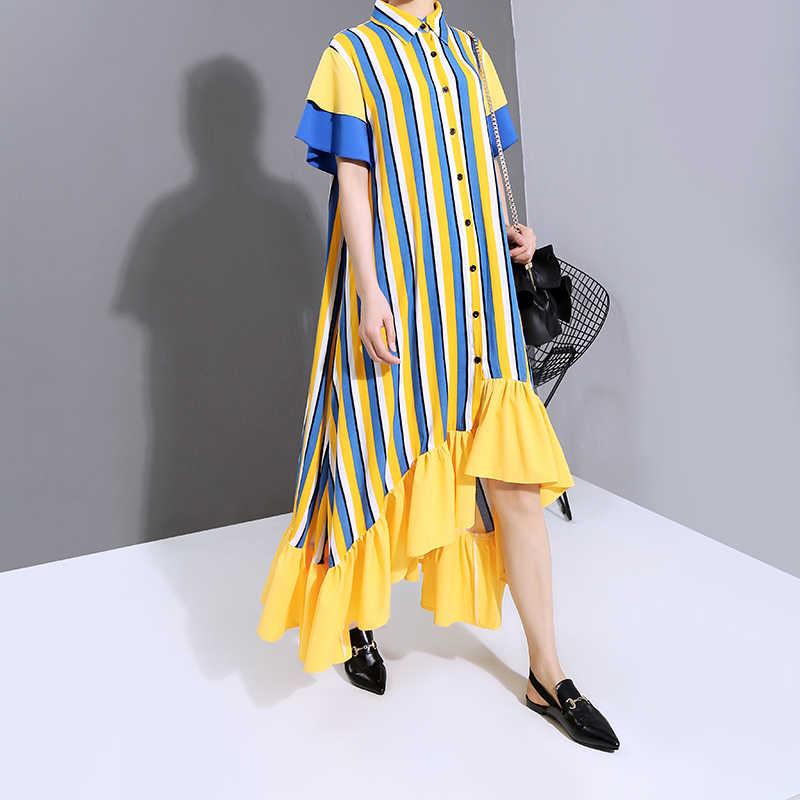 Yeni 2020 kadın yaz büyük boy sarı uzun gömlek elbise dikey çizgili baskı fırfır bayanlar zarif düz elbise Vestidos 6119