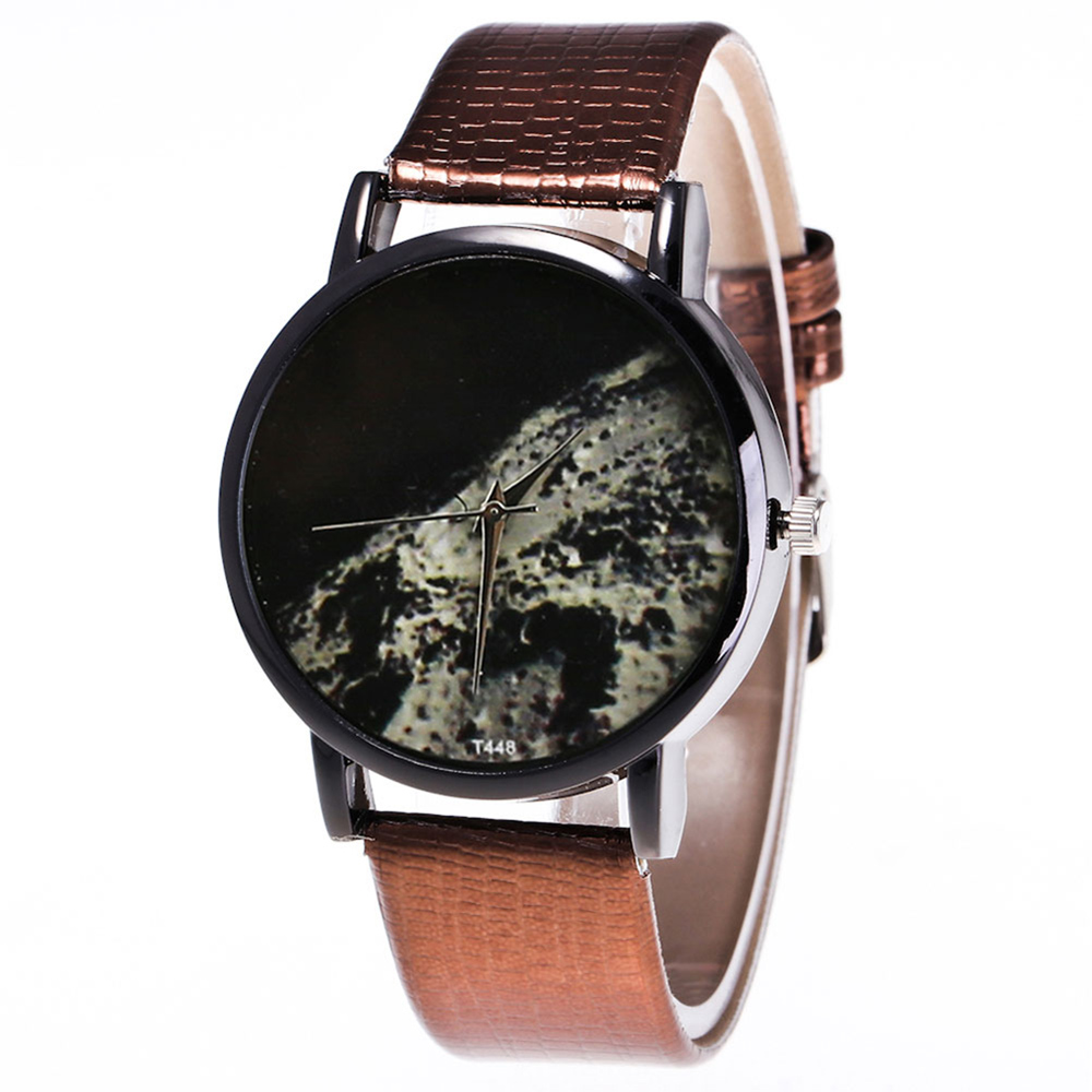 Couple Watches Moon Surface Printed Watches Quartz Watch Faux Leather Strap Fashion Watches With Round Dial For Men Women LXH