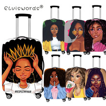 ELVISWORDS Afro Lady Girl Luggage Protective Covers Dustproof Bags Travel Accessories for 18-30 Inch Trolly Suitcase Luggage Tag cheap Polyester 72cm 200g S M L Luggage Cover 20cm 50cm geometric travel luggage cover luggage tags white luggage protective dust cover