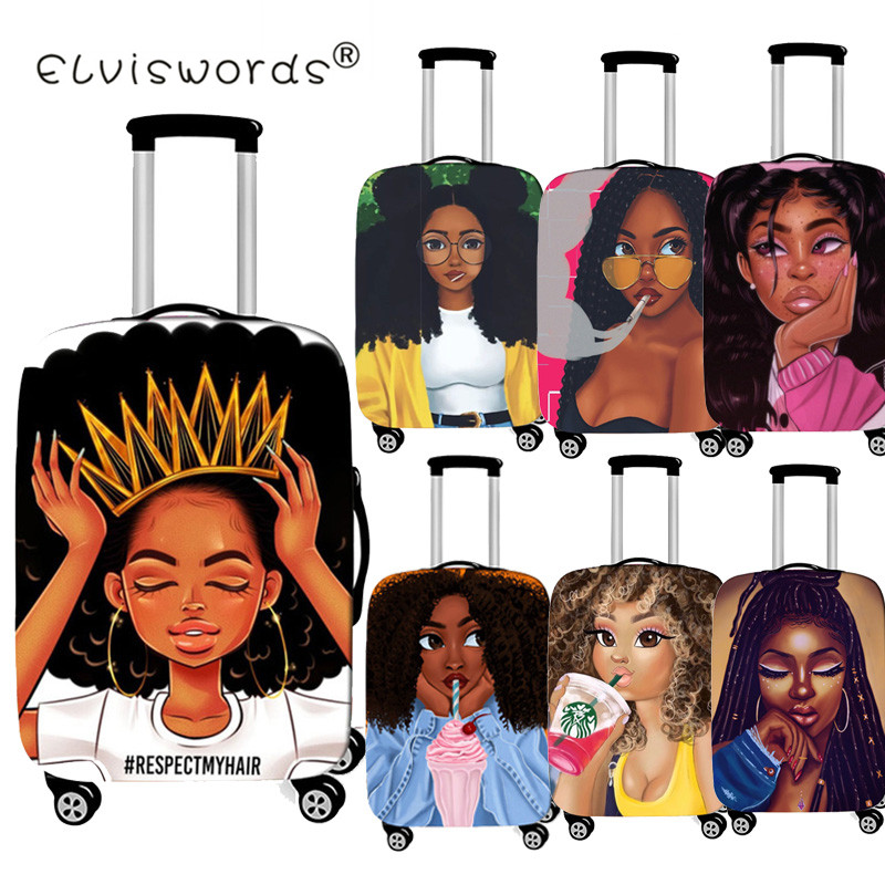ELVISWORDS Afro Lady Girl Luggage Protective Covers Dustproof Bags Travel Accessories For 18-30 Inch Trolly Suitcase Luggage Tag
