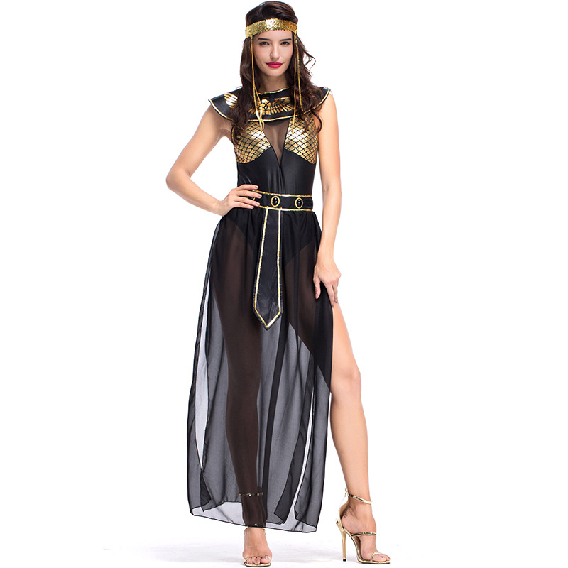 Umorden Carnival Party <font><b>Halloween</b></font> Egyptian Cleopatra Costume Women Adult Egypt <font><b>Queen</b></font> Cosplay Costumes <font><b>Sexy</b></font> Golden Fancy Dress image