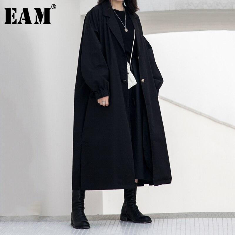 [EAM] Women Big Size Split Joint   Trench   New Lapel Long Sleeve Loose Fit Windbreaker Fashion Tide Autumn Winter 2019 1B123