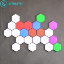 16/18 Pcs Coloful Quantum Lamp LED Touch Sensitive Hexagonal Lamps Modular Night light Magnetic Hexagons Wall