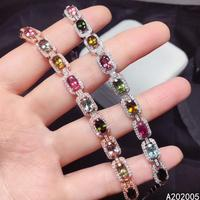 KJJEAXCMY Fine Jewelry 925 Sterling Silver inlaid gemstone tourmaline women hand bracelet beautiful support test selling