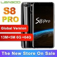 Глобальная версия LEAGOO S8 Pro 6GB 64GB 5,99 ''дисплей Мобильный телефон Восьмиядерный 13MP две камеры отпечатков пальцев ID 4G смартфон